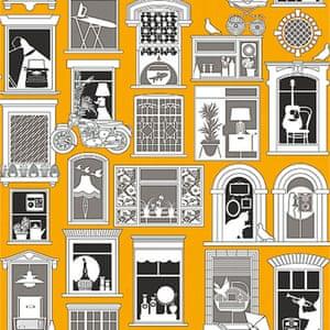 black white mustard coloured wallpaper with different window scenes