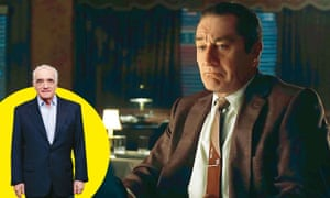 Scorsese (left) ; and a 'youthified' De Niro in The Irishman