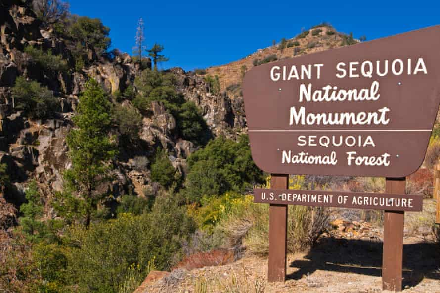 Giant Sequoia National Monument sign on the Kern River Sierra Nevada Mountains California