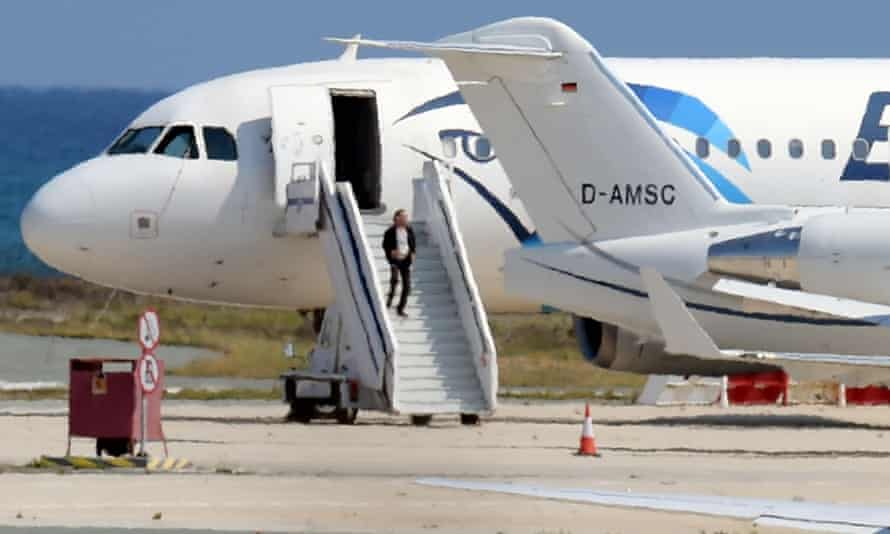 A man believed to be the hijacker of EgyptAir flight MS181 leaves the plane before surrendering to security forces after a six-hour standoff at Larnaca airport in Cyprus on Tuesday.