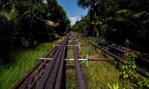 Oil pipelines in the Amazonian region of Loreto, near Iquitos, August 2011.