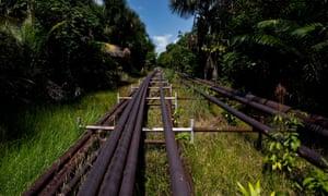 Oil pipelines run through the Amazon region of Loreto in August 2011.
