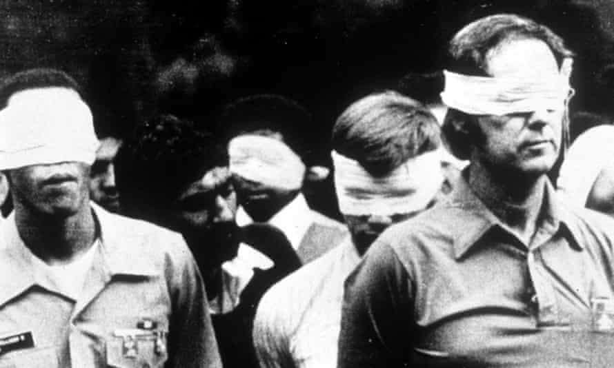 Blindfolded hostages from the American embassy siege in Tehran, Iran, 1979.