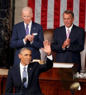 Obama waves to the crowd as vice-president Joe Biden and House speaker John Boehner look on