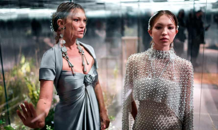 Kate Moss, left, with her daughter, Lila, model Fendi's spring-summer 2021 collection in Paris.