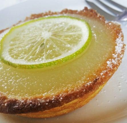 Lemon and almond milk tart.