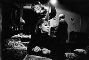 British actor Julie Christie has her hair done while on the set for her film Darling, 1965