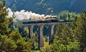 The Train des Pignes crossing the Donne viaduct in Provence.