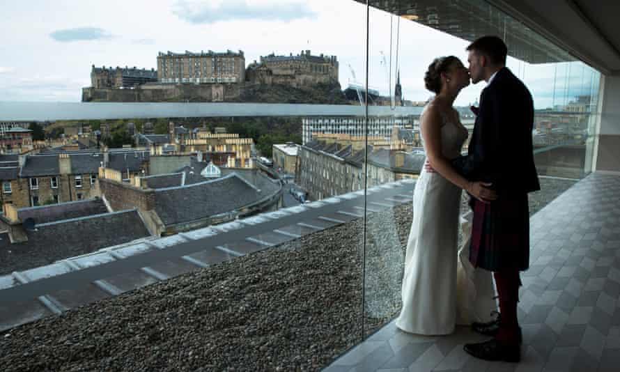 Robyn Hewatt and Andrew Downie at their humanist wedding in Edinburgh, Scotland