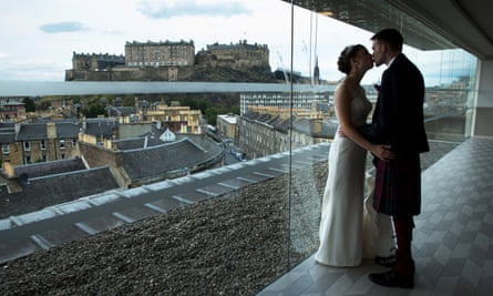 Robyn Hewatt and Andrew Downie at their humanist wedding in Edinburgh, Scotland