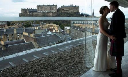 Robyn Hewatt and Andrew Downie's humanist wedding in Edinburgh, in August.