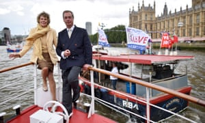 Nigel Farage and Labour MP Kate Hoey with the Brexit flotilla.