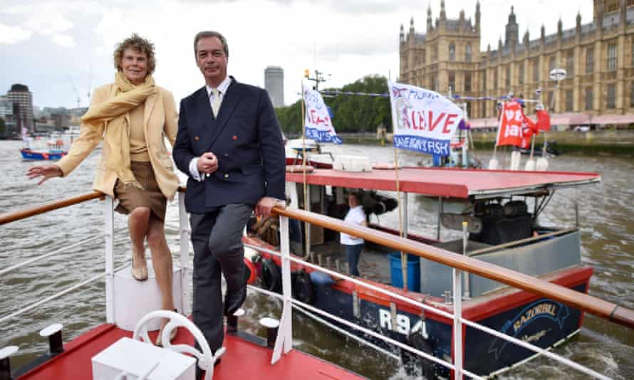 Kate Hoey and Nigel Farage with a pro-Brexit flotilla of fishing boats on the Thames, London, June 2016
