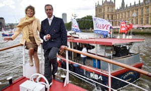 Kate Hoey and Nigel Farage on the leave flotilla last year.