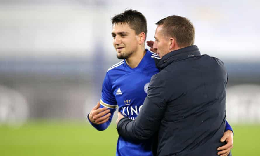 Brendan Rodgers and Cengiz Under celebrate Leicester's 2-0 victory.