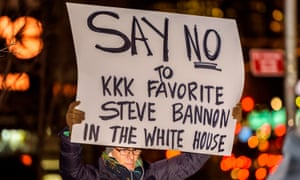 Demonstrators in New York protest Trump's appointment of Steve Bannon, executive chairman of the far-right website Breitbart News, as his chief strategist.