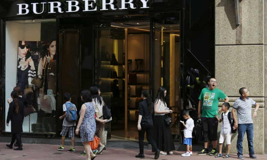 Shoppers at a Burberry shop in Hong Kong.