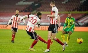 Sheffield United's Jayden Bogle gets the home side back on level pegging.