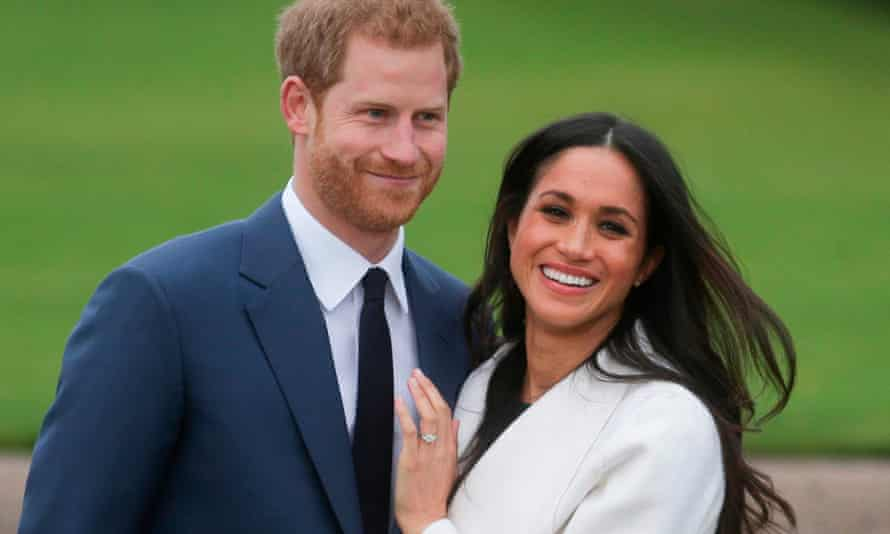 Prince Harry and his then fiancée, Meghan Markle, pose for a photograph at Kensington Palace in west London in 2017.