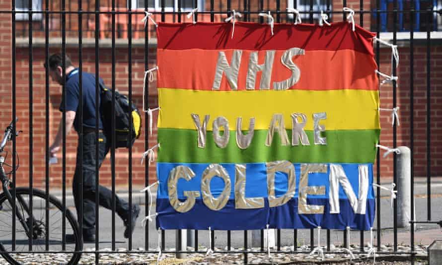 A banner praising the NHS