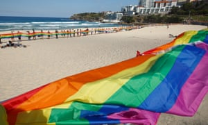 Supporters of marriage equality stage a colourful event at Bondi Beach in August in an event named 'raise the flag'.