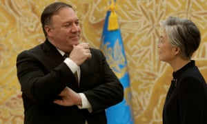 US Secretary of State Mike Pompeo talks with South Korean Foreign Minister Kang Kyung-wha after arriving in Seoul later on Sunday.