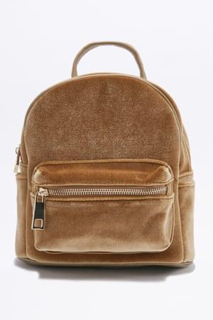 Velvet backpack, £36, urbanoutfitters.co.uk