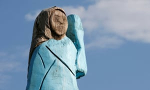 A life-size wooden sculpture of US first lady Melania Trump has been damaged, a year after it was unveiled in Slovenia.