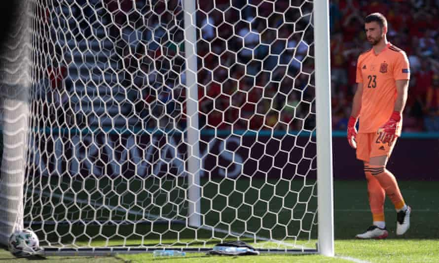 Unai Simón looks at the ball in Spain's net after conceding the ludicrous own goal which gave Croatia an early lead in the last-16 match.