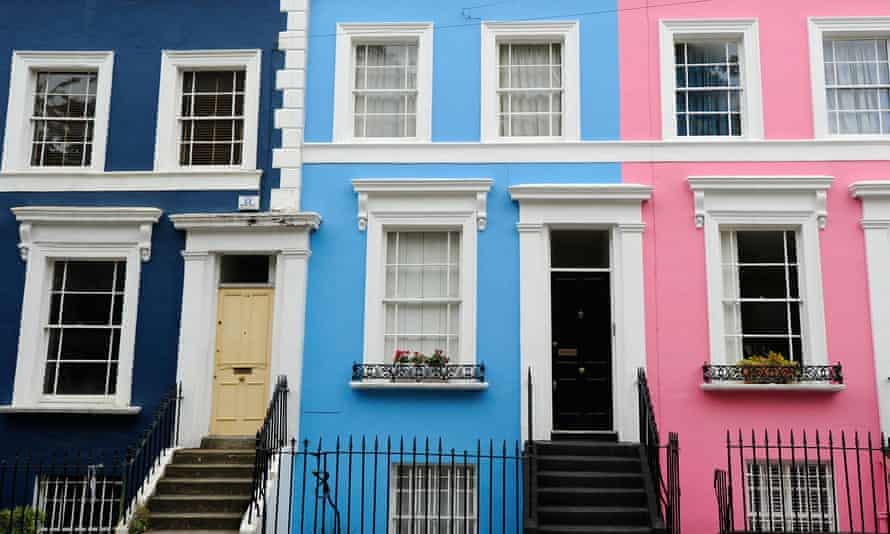 row coloured terraced houses