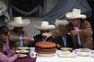 Pedro Castillo at his home in the town of Chugur during the traditional breakfast which Peruvian political candidates hold for the press