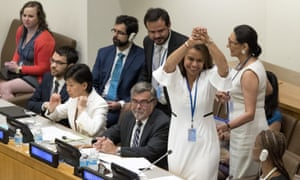 Elayne Whyte Gómez, president of the UN conference on nuclear weapons, reacts after the vote.