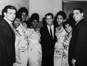American Bandstand host Dick Clark is flanked by The Marvelettes, with Barney Ales and local promotion man Buzz Curtis at the far left and right respectively. Courtesy of Barney Ales.