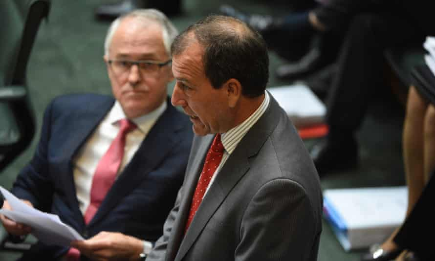 Malcolm Turnbull listens as Mal Brough answers questions on Wednesday.