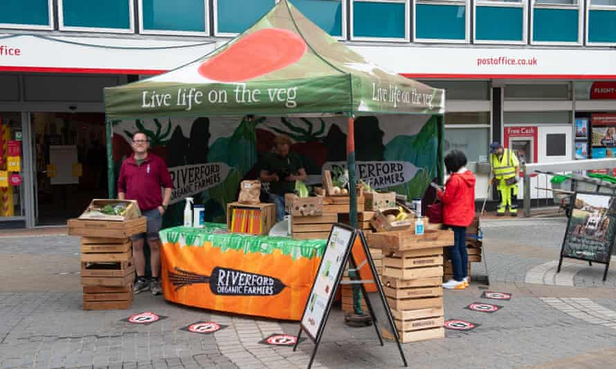 A Riverford stall in Berkshire aiming to attract new customers for its organic vegetable boxes.