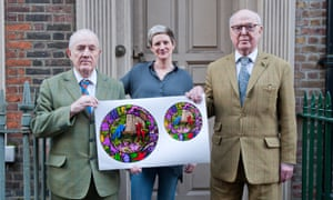 Gilbert (left) & George with Ruth Rogers, who approached the pair about the project, and designs for the plates.