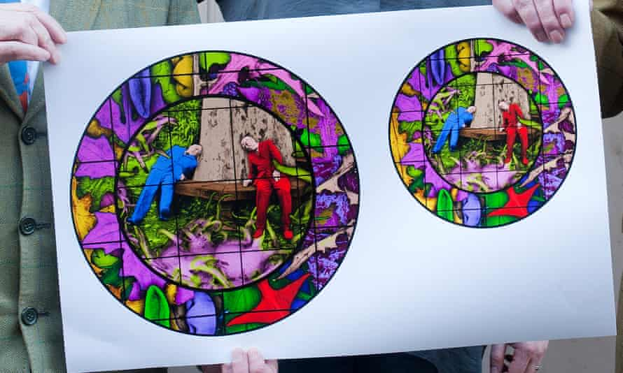 Plates with an image from the Gilbert & George work On the Bench