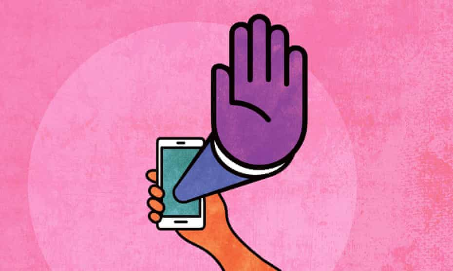 Illustration of giant hand in 'stop' gesture coming out of a smartphone screen