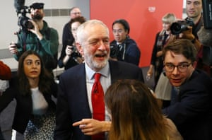 Jeremy Corbyn leaves after speaking about Brexit during a general election campaign meeting in Harlow on 5 November 2019