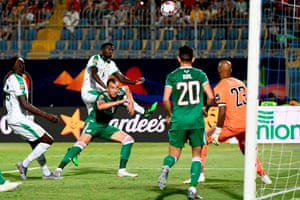 Senegal's forward M'baye Diagne can't get his header on target.