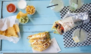 Aerial shot of wraps and Mexican tortillas at Donki restaurant in Leuven, Belgium.
