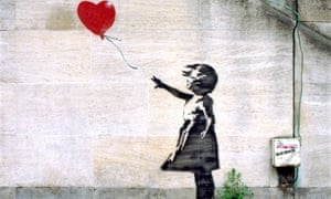 Banksy's Girl with Balloon on a South Bank wall near the National Theatre in 2004.