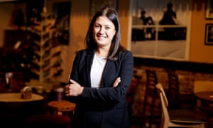 Lisa Nandy pictured at the Wigan Central bar in her Greater Manchester constituency.