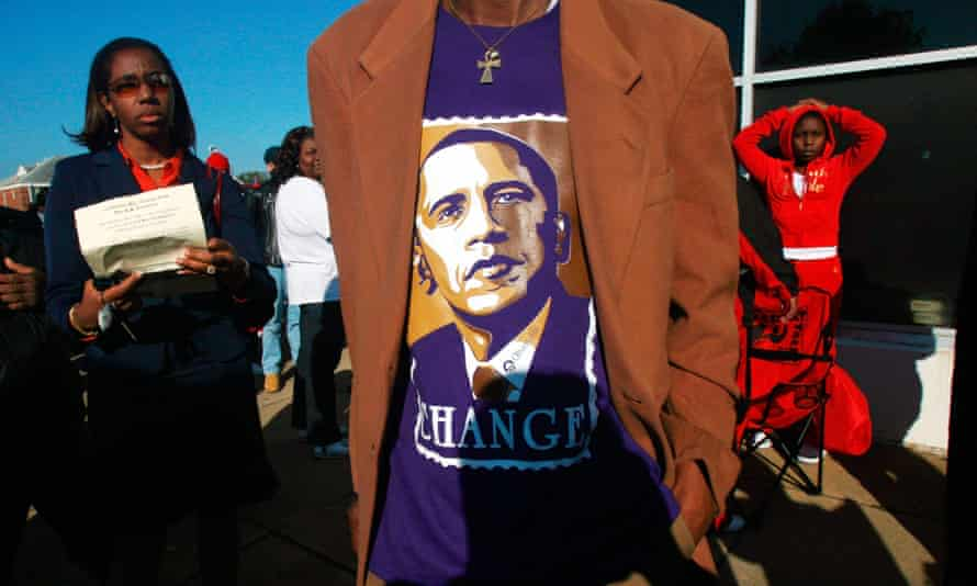 Black voters go to the polls in the 2008 presidential election.