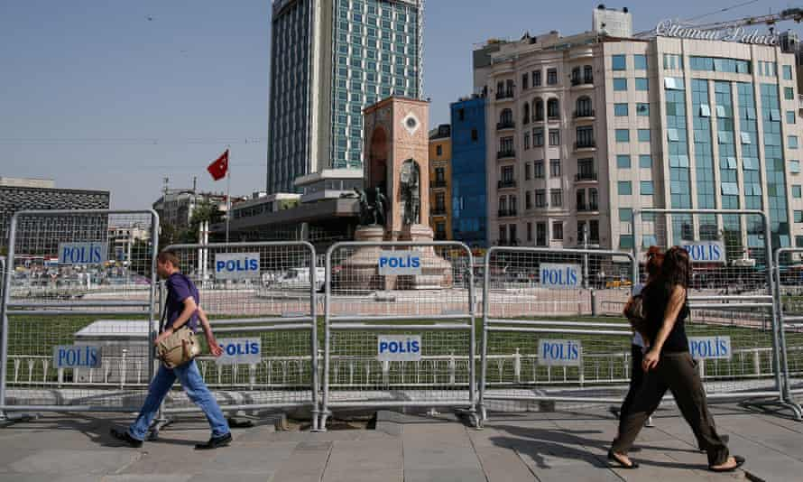 Barricades erected by police around the city's landmark Taksim monument on the third anniversary of Gezi Park protests in Istanbul.