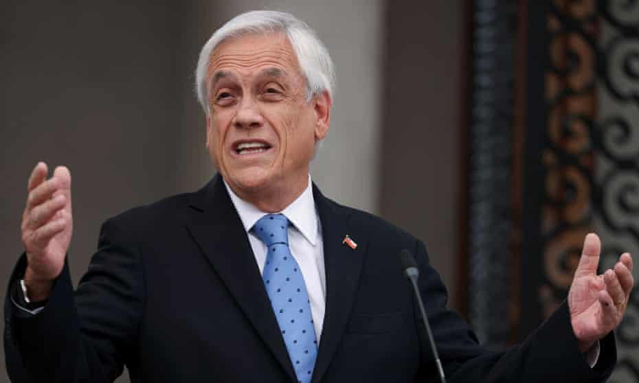 Sebastián Piñera in Santiago, Chile, on 4 October.