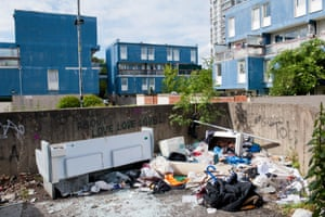 Dumped rubbish next to the Westbury estate, Wandsworth. Tips and refuse depots are closed