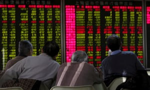 Electronic board showing stock market information