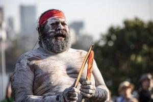 A Koomurri singer performs at the Wugulora Morning Ceremony at Barangaroo in Sydney