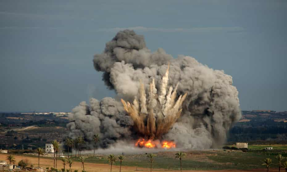 A bomb dropped by a US-supplied Israeli air force F-16 jet explodes in the Palestinian town of Beit Hanoun in the Gaza Strip, on 3 January 2009.